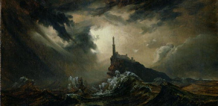 A painting depicting a lighthouse on a small precarious rocky outcrop surrounded by a vicious sea and stormy sky